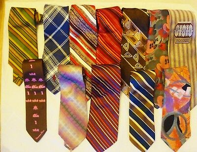 Lot of 17 Vintage Clip On & Tie  Neck Ties - Various Colors and Labels
