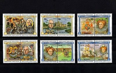 St LUCIA - 1984 - ROYALTY - KINGS & QUEENS - ARMADA - WATERLOO + MINT - MNH SET!