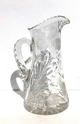 Vintage ABP Deep Large Tall Cut Glass Pitcher Vase Star Flowers Braided Handle
