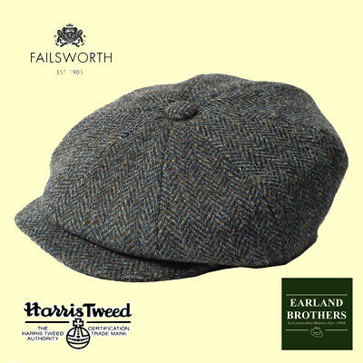 Failsworth Harris Tweed Carloway Beckham Newsboy Cap Peaky Shelby Blue/Grey
