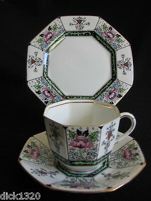 RARE ART DECO HAND-PAINTED DELPHINE CHINA #859 CUP/SAUC/PLATE TRIO c.20's