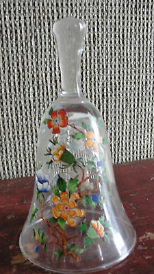 Crystal bell with HAND PAINTED COLORFUL DIFFERENT FLOWERS,BEAUTIFUL DESIGN