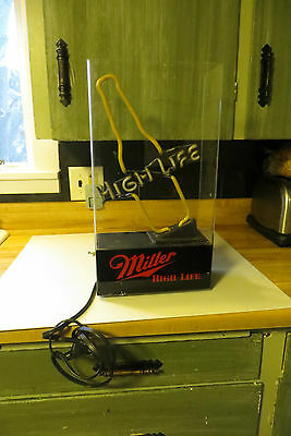 Miller High Life lighted beer bottle neon table self standing bar sign,works