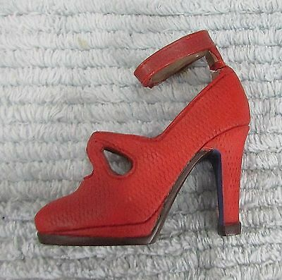 """Miniature 3"""" tall red leather small high heel Womens decorative shoe FREE S/H"""