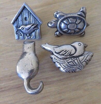 Metal Cabinet Knobs Door Pulls Bird on Nest & Birdhouse
