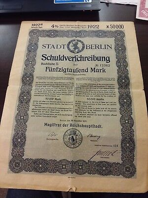 Germany 1922 Stadt Berlin 50000 Mark State Coupons UNC Bond Loan Anleihe Share