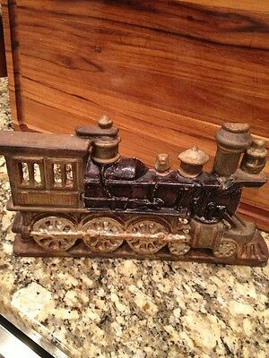 RARE Antique Large Painted Cast Iron Railroad EngineFigural Doorstop