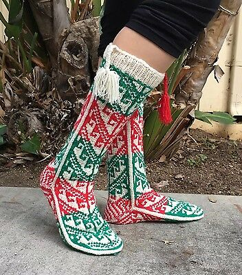 Amazing Vintage 1950's-60's Hand Knit Christmas Socks, Stockings
