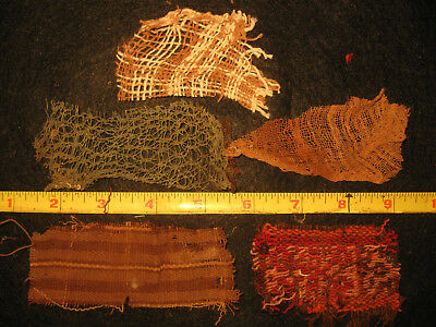 Authentic Pre Columbian Inca Chancay Fabric Textiles, 500 Year Old Cloth, #2-C