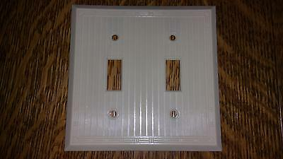 Vintage Early UNILINE BAKELITE Ribbed 2 Toggle Wall Light Switch Plate Lines