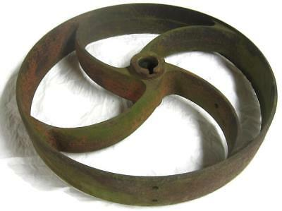 Antique Rustic Cast Iron 13 Inch Curved S Spoke Pulley Industrial Art Lamp Base