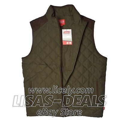 Mens Coleman Quilted Vest with Faux Suede Full Zip Outdoor Olive S M L XL XXL