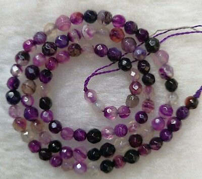 Purple Vein Agate Faceted Round Loose Beads 4mm 6mm 8mm 10mm 12mm 14mm 14""