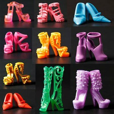 10 Pairs Set Party Daily Wear Dress Outfits Clothes Shoes For Barbie Doll Deluxe