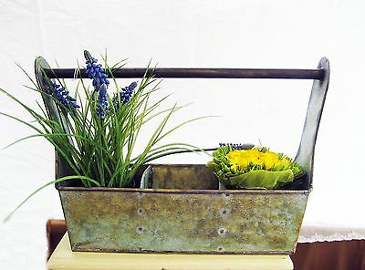Vintage Chic Primitive Metal Tool Box Caddy~Rustic Shabby Cottage~Handle Planter