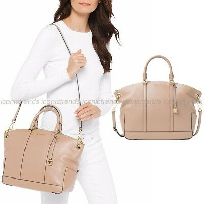 NWT ❤️ $358 Michael Kors Beckett Leather Large Top Zip Satchel Oyster Beige Gold