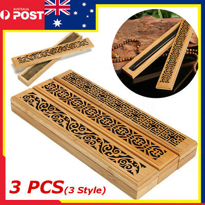 3 Pcs Ancien Handmade Bamboo Incense Holder Burner Joss Box Stick Holder Decor