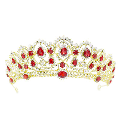 CamingHG Crystal Bridal Hair Accessories Pageant Tiara  Gold-red