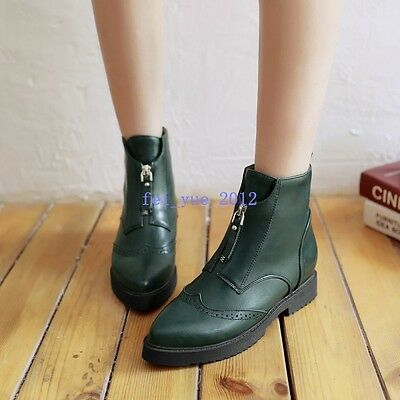 Womens Brogue Pointy Toe Front Zip Decor Wing Tip Block Heels Ankle Boot US 4-8