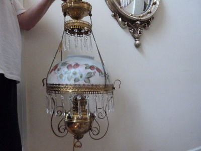ANTIQUE 1890s Victorian RAYO  Pull Down Hanging Oil Libray Lamp Stawberries 30""