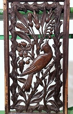 Paradise Lacework Panel Antique French Hand Carved Wood Sculpture Miniature 12
