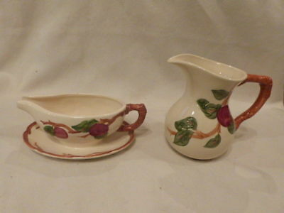 """VINTAGE Franciscan Ware Apple Gravy Boat 8.5""""  & Small Pitcher 6.75"""""""