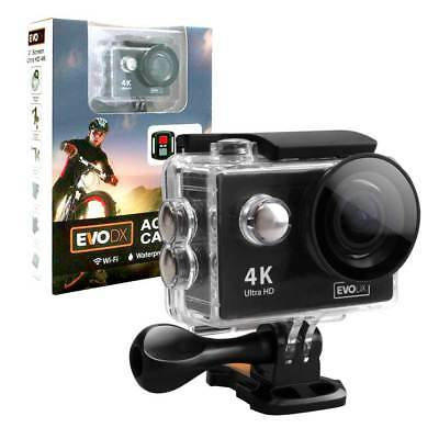EvoDX Ultra HD 4K 30M Waterproof Action Camera WiFi 2x Batteries, Remote and KIt