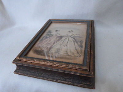 """ANTIQUE Victorian Ornate Wood Dresser Box Hand Colored Engraving  Mirror 9""""x7"""""""