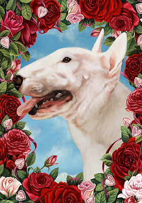 Large Indoor/Outdoor Roses Flag - Bull Terrier 19099