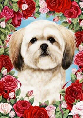 Large Indoor/Outdoor Roses Flag - Lhasa Apso 19040