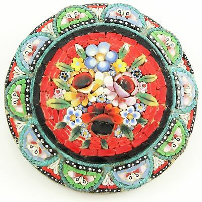 VINTAGE Italian Multicolored Glass MICRO MOSAIC Round FLORAL BOUQUET PIN Brooch