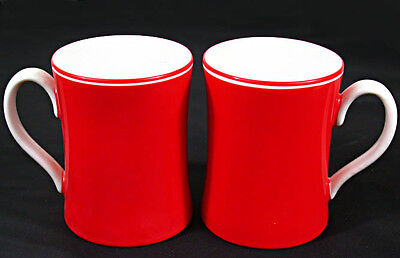 """PAIR of Fitz & Floyd RONDELET ROUGE Red 3 3/4"""" TALL COFFEE MUG (x2pc) XLNT Cond!"""
