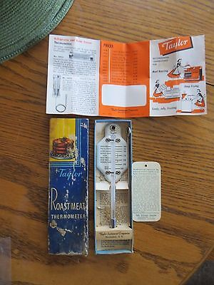 1953 Taylor roast meat poultry porcelain thermometer original box & directions