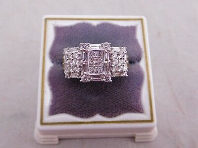 Vintage 14K Yellow Gold Baguette Round Princess Cut Diamond Stone Ring 2 Ctw