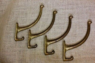 4 Coat Hooks craftsman bath robe old vintage clothes tree rustic tarnished brass