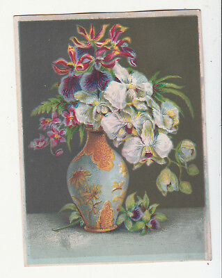 Blue and Gold Ornate Vase w White Red Flowers No Advertising Vict Card c 1880s