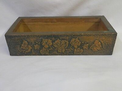 Vintage Wood Tray Window Box Planter Hammered Embossed Copper Wrap Folk Art