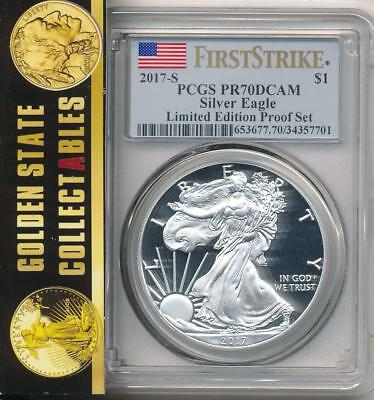 2017 S American Silver Eagle Pcgs Pr70 Dcam First Strike Ltd. Edition Proof Set