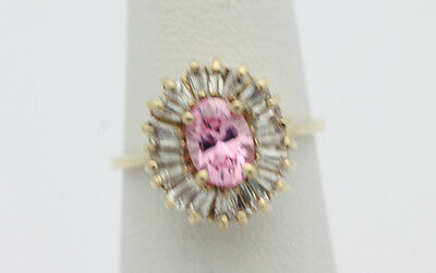 10k Yellow Gold YG Vintage Sparkling Pink White CZ Cocktail Ring Sz 6 3.1g GG469