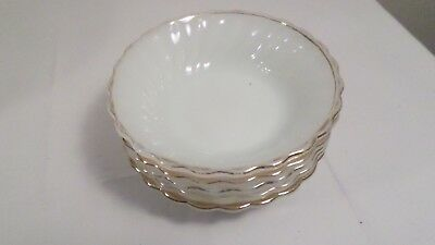 5 Vintage Anchor Hocking Fire King 7 USA White Milk Glass Berry Bowls