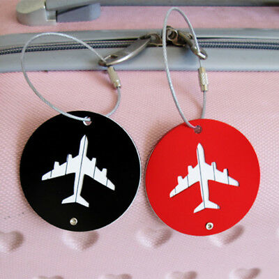 Round Aluminium Travel Suitcase Luggage Baggage Tag Bag ID Name Address Label