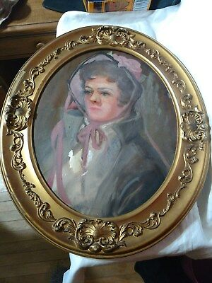 Gold Ornate VTG Antique Picture Frame OVAL Wood 16X20 Woman Oil Painting Gesso