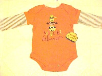 Babys 1st Halloween Outfit One Piece Creeper Romper Orange Size 3-6 Month New