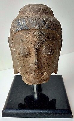 Old Chinese Wei to Song Manner Antique Stone Buddha Head Carved Figure Sculpture