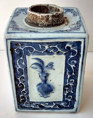 Signed Chinese Ming Qing Possibly K'ang Hsi Porcelain Tea Caddy Bottle Jar Pot