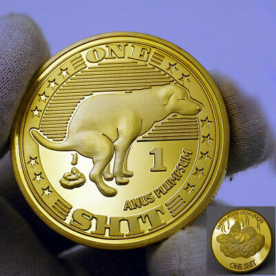 One Lucky Dogshit Year of the Dog 24K Gold Plated Commemorative Coin