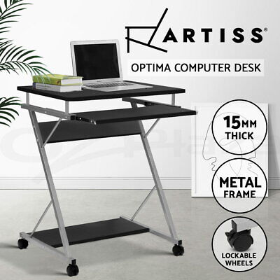 Black Office Computer Desk Metal Student Table Pull-Out Tray Mobile Home