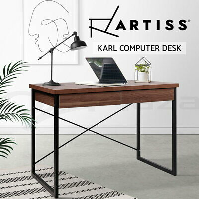Artiss Office Computer Desk Metal Study Student Walnut Table Drawer Cabinet
