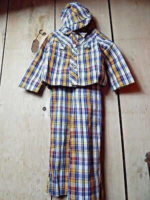 Vintage 1970s Merry Mites Young World Plaid Jacket Cap Hat Bib Pants Suit Set