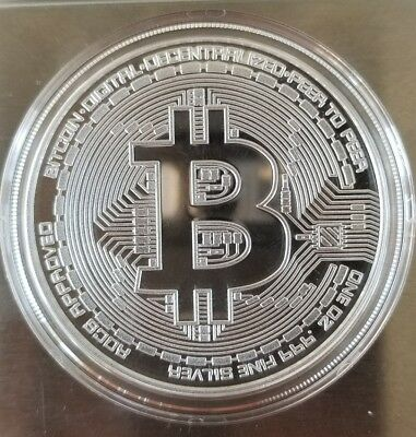 Bitcoins Proof 1 oz .999 fine silver plated commemorative - limited 2500 minted